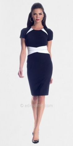 White Black Short Sleeved Day Dresses from NUE by Shani......Price - $260.00 - bU3gFJBw
