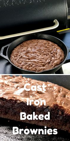Slow Poke Cooking is a website built around good and traditional food - often with a smoked touch. Cast Iron Skillet Cooking, Iron Skillet Recipes, Cast Iron Recipes, Cooking With Cast Iron, Cast Iron Brownie Recipe, Brownie Recipes, Chocolate Recipes, Easy No Bake Desserts, Köstliche Desserts