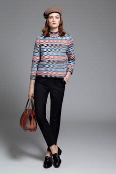 Paule Ka | Pre-Fall 2015 | 18 Multicolour printed 3/4 sleeve sweater and black cropped trousers