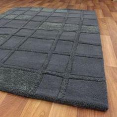 Textured Woollen Rug Dark Grey 280x190cm