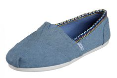 Skechers Bobs Plush Powwow Denim Blue Memory Foam Flat Shoes