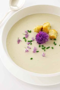 The texture of our Creamy Potato Soup with Chive Blossoms is almost like velvet. With a garnish of fresh chive blossoms this makes a stunning presentation. Sourdough Pancakes, Sourdough Recipes, Creamy Potato Leek Soup, Chive Blossom, Baked Chicken Recipes, Soup Recipes, Healthy Recipes, Soups And Stews, Breakfast