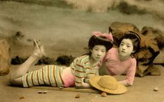 明治・大正時代に撮影された芸者や舞妓さんたちのカラー水着写真いろいろ - DNA