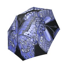 Bold, detailed butterfly pattern for nature lovers, in shades of blue & green. Purple Butterfly, Butterfly Pattern, Shades Of Purple, Umbrellas, I Shop, Blue Green, Teal, Unique, Model