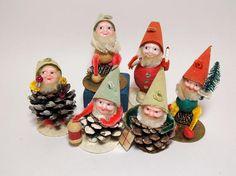 Shiny Brite Pincone and Cotton Spun Dwarfs Elves Original Box