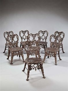Set of 8 Cast Iron Garden Chairs
