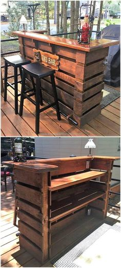 This repurposed pallet bar is smartly created with the dramatical arrangement and placement of reused wooden pallet slats. #bar #palletbar #pallets #woodpallet #palletfurniture #palletproject #palletideas #recycle #recycledpallet #reclaimed #repurposed #reused #restore #upcycle #diy #palletart #pallet #recycling #upcycling #refurnish #recycled #woodwork #woodworking