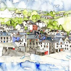 Port Isaac (detail) - Simone Ridyard, Manchester architect and artist Watercolor Architecture, Watercolor Landscape, Watercolor Paintings, Watercolors, Watercolor Ideas, Painting Lessons, Painting & Drawing, Sketch Inspiration, Painting Inspiration