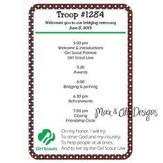 Girl Scout Bridging Brownie Ceremony Program by maxandotis, $5.00