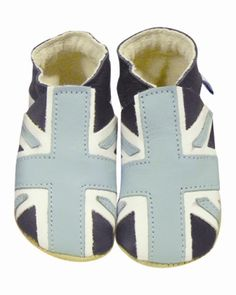 Union Jack - Navy, White & Blue soft soled leather baby bootie shoes daisy roots