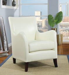 IVORY LEATHER-LOOK ACCENT CHAIR