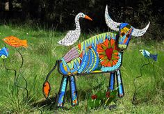 """""""Hoi An"""" fused glass buffalo in steel frame  Tammy Hudgeon"""