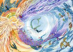 Mermaid Art Print - Celestial Mermaid Sun and Moon with Ravens - Rose Floral Patterns