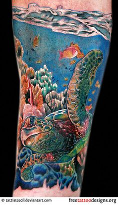 Sea turtle tattoo. I would never get this but it looks awesome