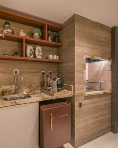 cozinha com churrasqueira Outdoor Kitchen Design, Kitchen Decor, Homer Decor, Rooftop Design, Grill Design, Modern Loft, Bar Grill, Apartment Interior Design, Sweet Home