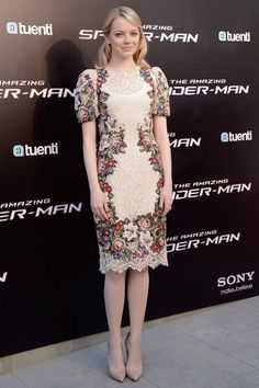 Emma Stone in a lace  floral Dolce  Gabbana dress and nude Louboutin heels