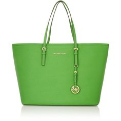 MICHAEL Michael Kors Jet Set Travel medium textured-leather tote ($315) ❤ liked on Polyvore featuring bags, handbags, tote bags, purses, totes, green, man travel bag, handbag tote, handbags purses and tote purses