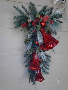 Items similar to Christmas Bell Swag on Etsy Christmas Door Hangings, Christmas Door Wreaths, Christmas Swags, Christmas Door Decorations, Christmas Bells, Christmas Love, Holiday Wreaths, Rustic Christmas, Christmas Ornaments