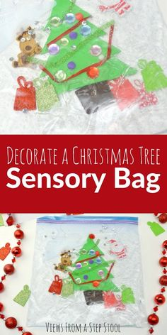 Decorate a Christmas Tree Sensory Bag for Babies : It can be difficult to find sensory activities for babies and toddlers! This Christmas tree sensory bag is the perfect solution for this age group. Christmas Activities For Toddlers, Holiday Crafts For Kids, Preschool Christmas, Toddler Christmas, Christmas Bags, Holiday Themes, Holiday Activities, Christmas Themes, Holiday Fun