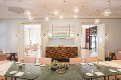Whitegrass Restaurant | Douglas and Bec Y 05 Chandelier | Natural Brass + Mouth Blown Glass   | Singapore | NZ Design |