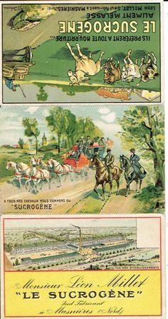 """TRIPLE postcard \""""LE SUCROGENE\"""", Leon Millet, Masnieres (59)"""
