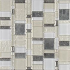 MS International Chantilly Stax 11.85 in. x 11.97 in. x 8 mm Glass Mesh-Mounted Mosaic Tile (9.85 sq. ft. / case), Gray