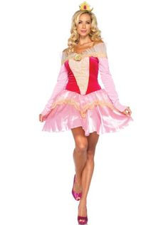Leg Avenue Disney 2Pc. Princess Aurora Costume Dress with Organza Stay Up Collar and Crown HeadPiece, Pink Dress - Standard & Plus Sizes