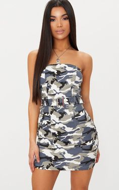 4de30e24bcb Pretty Little Thing Grey Camouflage Belt Detail Bodycon Dress    The  perfect balance of hard