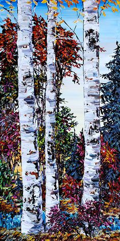 Easy Landscape Paintings, Landscape Art, Birch Tree Art, Wood Pallet Art, Art Drawings Beautiful, Illustration Art Drawing, Birches, Acrylic Art, Watercolor Paintings