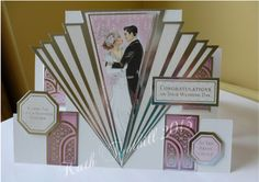 Stepper wedding card with Hunkydory images.