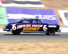 "This unbelievably fun car is always a huge crowd favorite.  Marshall Teague drove the original ""Fabulous Hudson Hornet"" in early NASCAR events.  Ivan Zaremba's 1951 Hudson Hornet was created with the help of racing legend Smokey Yunick, who developed the dominant racing Hudsons in the early 1950s."