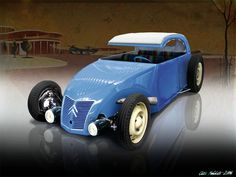 Citron 2CV streetrod (C cab concept)! Love those vintage headlights, the front grill, side front louvers, and that hood. Interesting idea... and looks good.