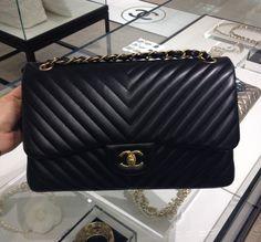 Chanel Black Chevron Flap Medium Bag