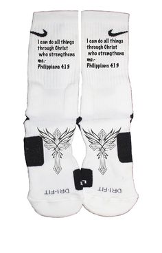 These are a beautifully designed Newest edition of our Custom Nike Elite Socks.  Scripture Philippians 4.13 with crosses. Please note: Our graphic designer has 19 years experience in the industry. He works to achieve perfection. Some sock designs may take six to eight hours to create. the entire sock is covered and there is very minimal white lines if any.These socks will last a long time where others will fade. You get what you pay for with our company.NIKE ELITE SIZE...