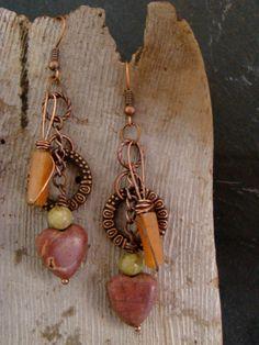 Long Jasper Heart Boho Style Earrings Copper          by Sewartzee, $15.00