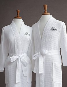 His & Hers Couple's Waffle Weave Bathrobe Set - Egyptian Cotton - Unisex/One Size Fits Most - Spa Robe, Luxurious, Soft, Plush, Elegant Script Embroidery - Perfect Wedding Gift - Luxor Linens Luxor, 4th Anniversary Gifts, Second Anniversary, Wedding Anniversary, Cotton Anniversary, Perfect Engagement Gifts, Jolie Lingerie, Christmas Gifts For Her, W 6