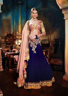 Beige Faux Georgette Designer Wedding Lehenga Choli 42640