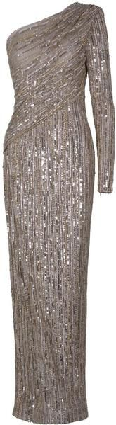 Eastland One Shoulder Sequin Gown in Silver