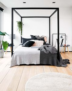 Modern Black Frame Canopy Bed   Modern Black Frame Canopy Bed   Steal That  Interior Design