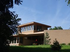 Bulbulian Residence is the first of three homes in Rochester, MN designed by noted architect Frank Lloyd Wright. Built in Rochester Minnesota, Lloyd Wright, Cabin, Homes, History, House Styles, Building, Outdoor Decor, Design