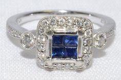 18k White Gold Diamond and Rich Blue Sapphire by LadyLibertyGold