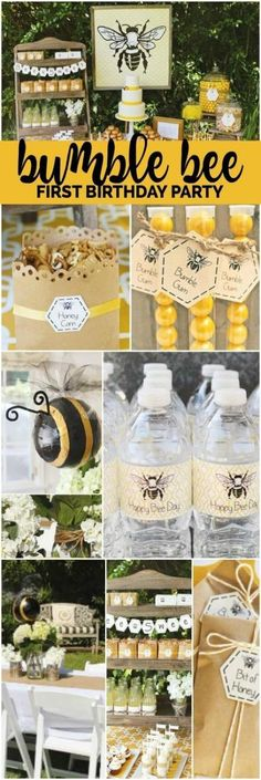 Bee Themed First Birthday {Boy Party Ideas} Buzz over and enjoy this bumble bee themed first birthday party! I am adoring the vintage feel of this first birthday party for a boy! The beautiful yellow is perfect for a fresh look this spring. 1st Birthday Themes, Party Themes For Boys, Baby Girl First Birthday, Boy Birthday Parties, Birthday Ideas, Prom Themes, Husband Birthday, Themed Parties, Birthday Wishes