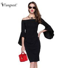 TANGNEST Women Sexy Dresses 2017 Summer Fashion Brief Slim Mini Three Quarter Rutterfly Sleeve Slash Neck Dress WQL5297