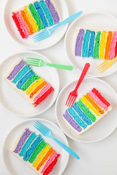 Slices of rainbow cake.
