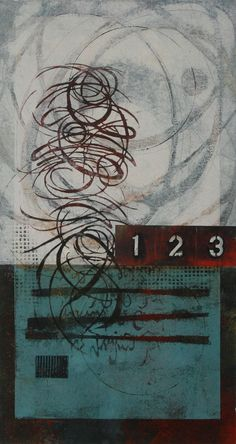 """Counting the Promises, by Anne Moore, monotype with collage, 22""""X12"""""""
