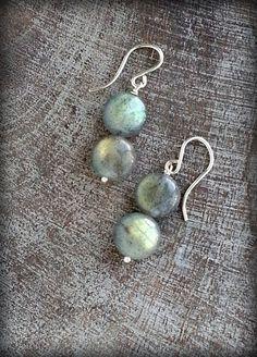 Moonbeam Labradorite Earrings Labradorite Beads Dangle by TandBrie
