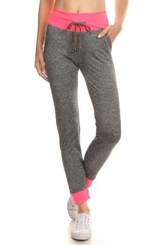 Fitted Heathered Accent Band Joggers | $24.95 at OnlyLeggings.com #OnlyLeggings