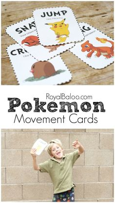 Pokemon Movement Cards – Get the Wiggles Out Pokemon Movement Cards! Get some of that energy out with some pokemon themed cards that promote gross motor efforts! Pokemon Games For Kids, Pokemon Craft, Pokemon Party, Pokemon Birthday Card, Pokemon Pokemon, Gross Motor Activities, Movement Activities, Preschool Activities, Music Activities