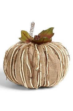 Shea's Wildflower Burlap Pumpkin Decoration, Large - contemporary - holiday decorations - by Nordstrom Burlap Pumpkins, Fabric Pumpkins, Fall Pumpkins, Autumn Decorating, Pumpkin Decorating, Fall Halloween, Halloween Crafts, Rustic Halloween, Fru Fru