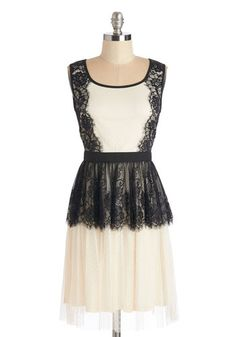 Refined Tastes Dress - Mid-length, Knit, Lace, Black, Lace, Party, A-line, Sleeveless, Scoop, Cream, Exposed zipper, Tiered, Sheer